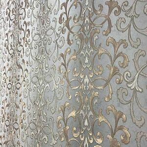 Image Is Loading Wallpaper Textured Wall Coverings Modern Damask Gray Gold