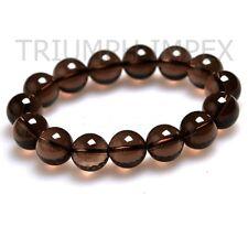 SMOKY Quartz Natural Healing Stone Bead Bracelet : 99.99% Clear