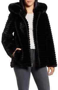 Gallery Womens Faux-Fur Hooded Jet Black Size XL Full-Zip Jacket $200 563