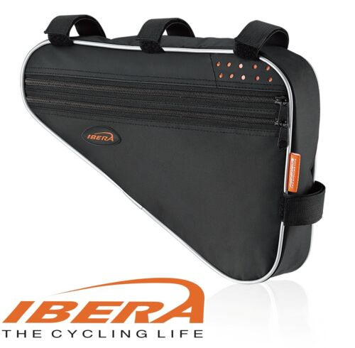 Black IBERA FB1L Triangle Bicycle Top Tube Frame Bag Multiple Compartment