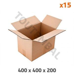 Caisse carton à base carrée en double cannelure 400 x 400 x 200 mm (par 15)