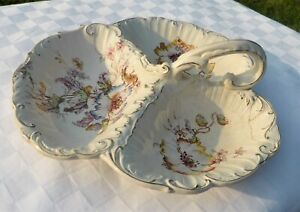 ANTIQUE-THREE-SECTIONED-SCALLOP-EDGED-FLORAL-DESIGN-HANDLED-SERVING-DISH