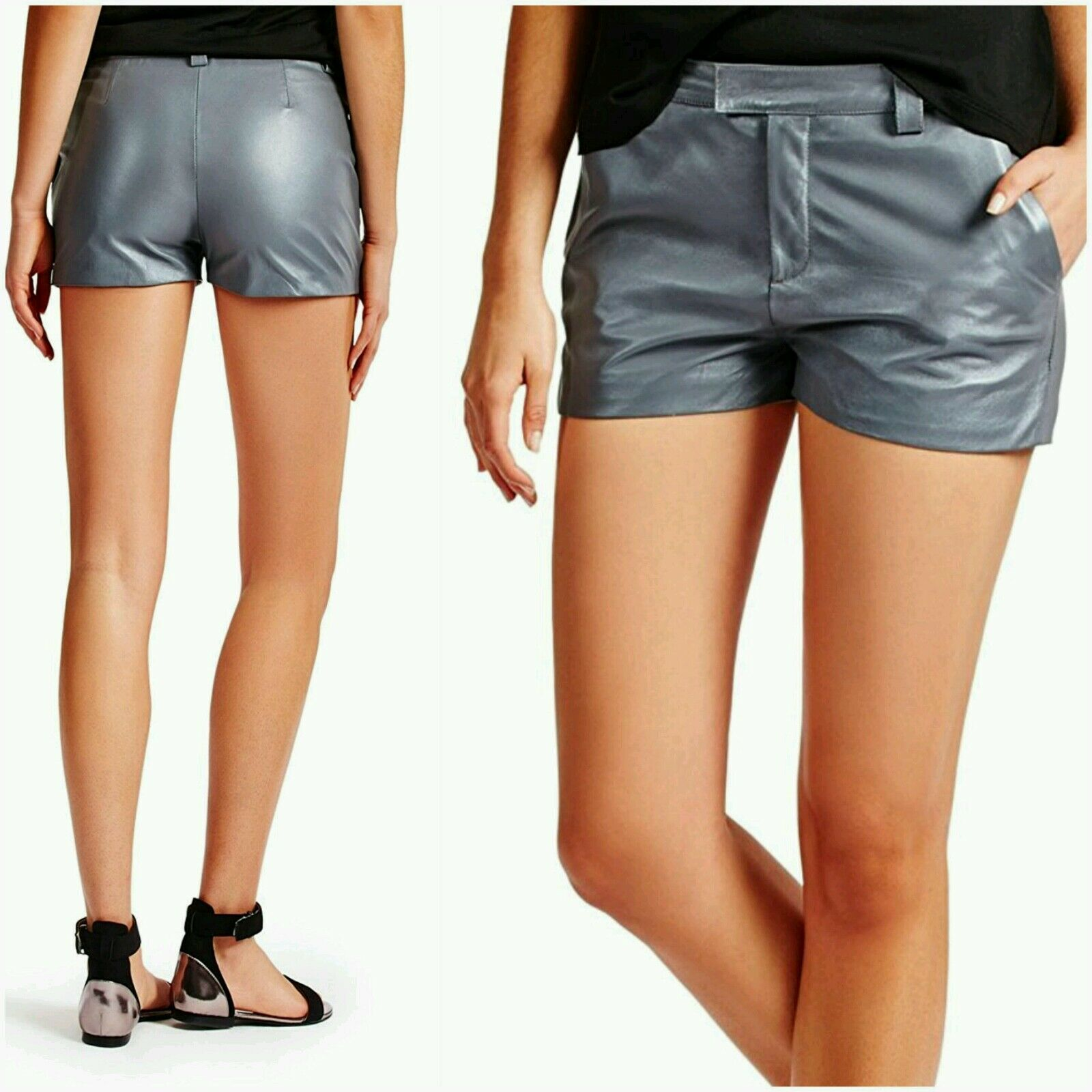 NWT GUESS PARISA 100 % LEATHER SHORT SIZE 4