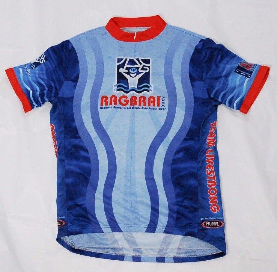 Primal men's cycling jersey bluee size XL 3 4 zipper Ragbrai Livestrong