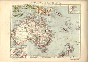 Cartina Geografica Australia E Nuova Zelanda.Carta Geografica Antica Australia Nuova Zelanda New Zealand 1900
