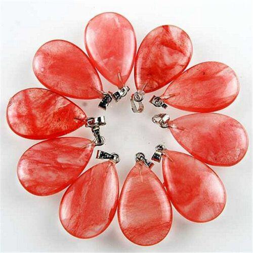 10PCS  MGTCY167 Charming Cherry Quartz Teardrop Pendant Bead