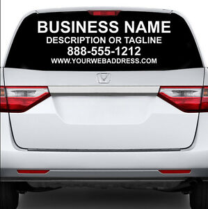 CUSTOM REAR WINDOW BUSINESS SIGN CAR TRUCK VAN VEHICLE VINYL DECAL - Custom rear window decals for cars