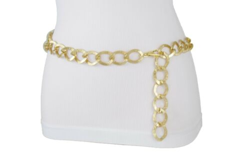 Hot Women Fashion Belt Chunky Gold Metal Thick Chain Links Hip High Waist XS S M