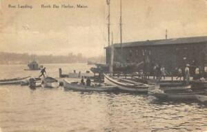 BOOTH-BAY-HARBOR-Maine-Boat-Landing-Dock-1910-Vintage-Postcard