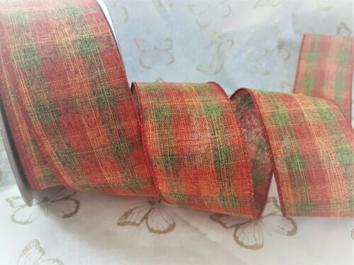 FESTIVE TARTAN traditional Red /& Grey /'tweed/'-Luxury Wire Edge Ribbon *NEW 2019*