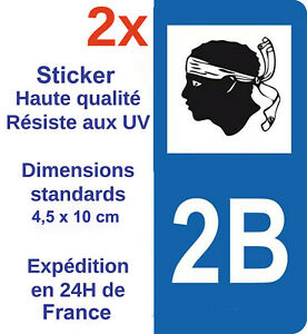 2-Autocollants-pour-plaque-immatriculation-sticker-departement-Adhesif-2B-Corse