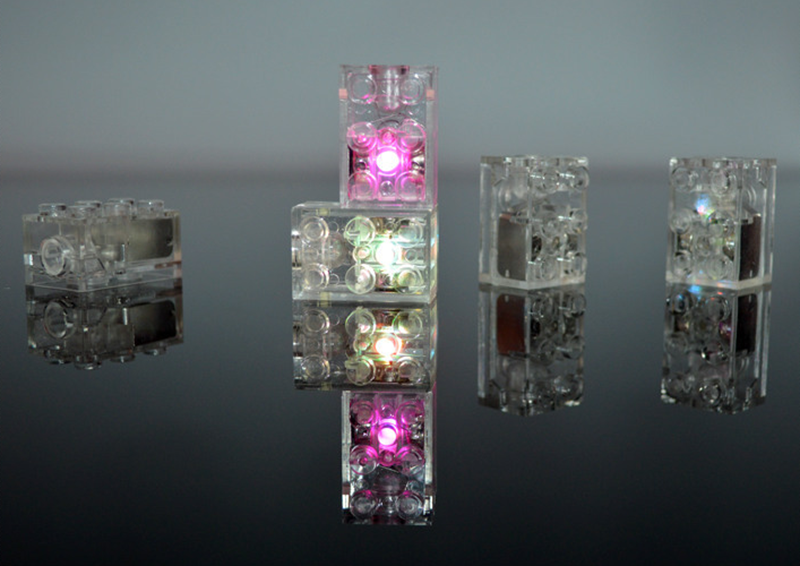⭐  40 x DEL Lunar Light briques compatible avec LEGO Blocs Sans Essieu Blanc