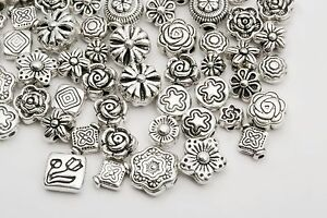 Wholesale-Mixed-Charms-80pcs-Tibetan-Silver-Flower-Spacer-Beads-For-Jewelry-DIY
