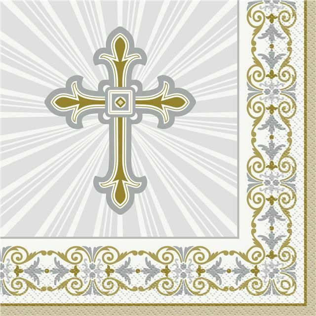 Silver & Gold Radiant Cross Communion Lunch Napkins x 16
