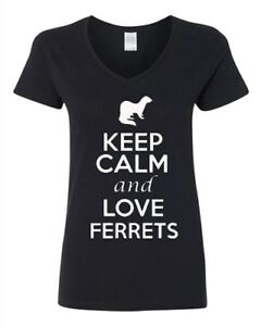 V-Neck Ladies Keep Calm And Love Ferrets Cute Cat Animal Lover Funny T-Shirt Tee