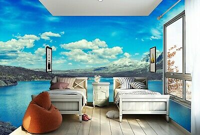 Details About Blue Sky And Lake Landscape Self Adhesive TV Background Wallpaper  Bedroom Mural