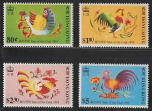 X121-CHINA-HONG-KONG-1993-CHINESE-NEW-YEAR-COCK-CHICKEN-SET-MNH-LIGHT-TONING