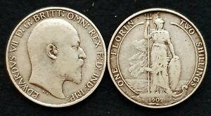 1902-1910-Edward-VII-Silver-florins-Inc-RARE-Clear-date-choisir-reel-coin