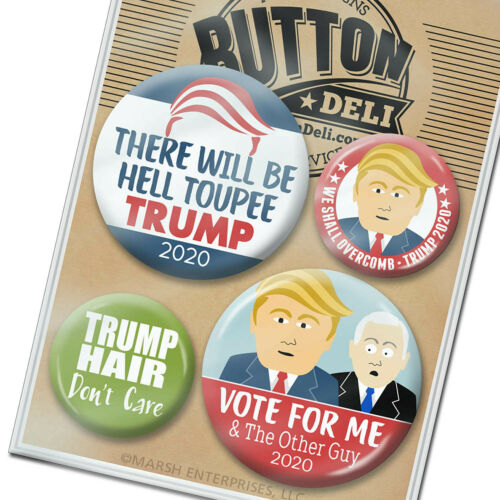 we shall overcomb 4 FUNNY Buttons hair Donald Trump 2020 pin hell toupee