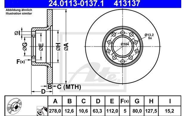ATE Juego de 2 discos freno Antes 278mm para MERCEDES/8 KOMBI 24.0113-0137.1