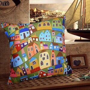 Abstract-Houses-soft-VELVET-PILLOW-COVER-FOLK-ART-Abstract-Artist-KARLA-GERARD