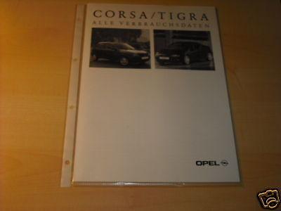 10572) Opel Corsa B Tigra Verbrauchsdaten Prospekt 1996 Kataloge Werden Auf Anfrage Verschickt
