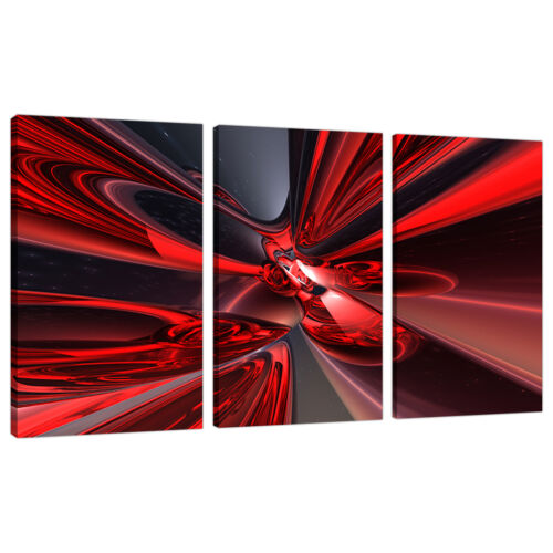 3 Piece Abstract Canvas Art Pictures Large Modern Red Wall Prints 3006