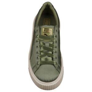 dc985a601fce PUMA Womens Basket Platform Satin Sneaker 365719-03 Olive Gold White ...