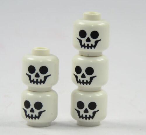 4 LEGO® 5 Figuren Köpfe weiß Totenkopf Skelett Kopf bedruckt Ersatzteile