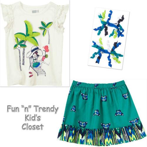 NWT Crazy 8 TROPICAL BATIK Girls Size 3T 4T 5T Skirt Tee Shirt Top Hair 3-PC SET