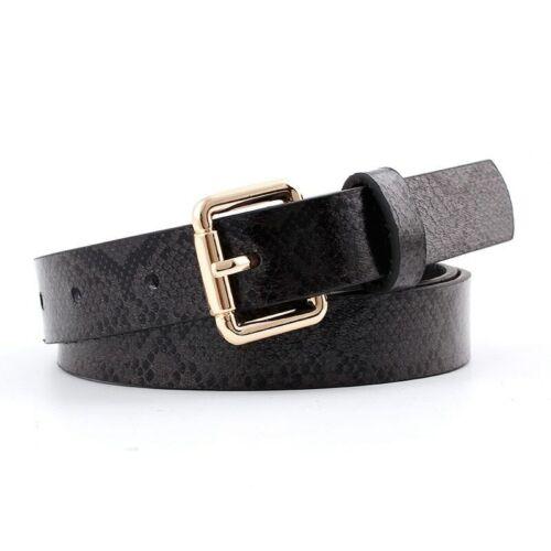 Snake Skin Faux Leather Belt Women Metal Pin Long Buckle Waist Straps Waistband