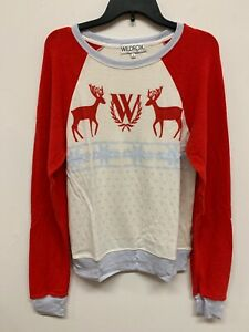 Wildfox Christmas Sweatshirt.Details About Wildfox Cream Red Violet Deers Christmas Sweatshirt Size S New Limited Vintage