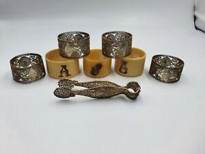 Restposten aus Antik/Vintage Servietten Ringe x 7