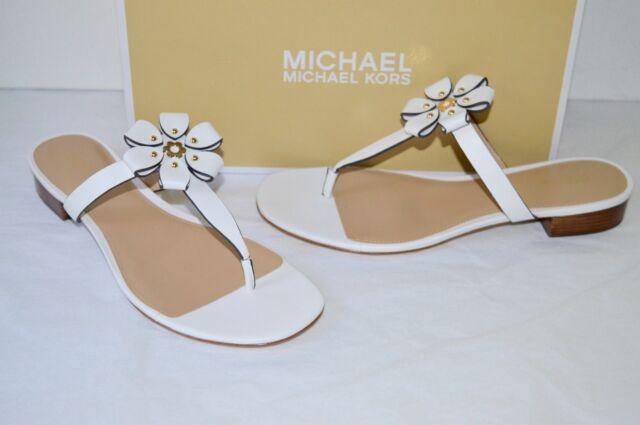 f9b8d258e7e New  130 Michael Kors Tara Thong Optic White Leather Sandal Floral Design  sz 9