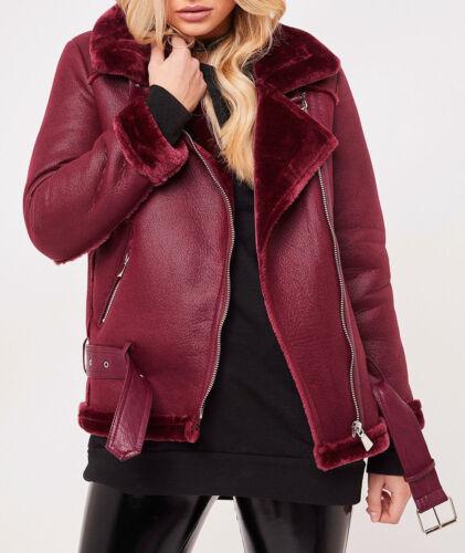 NEW Womens Faux Leather Aviator Belt Faux Fur Lined Shearling Ladies Jacket Coat