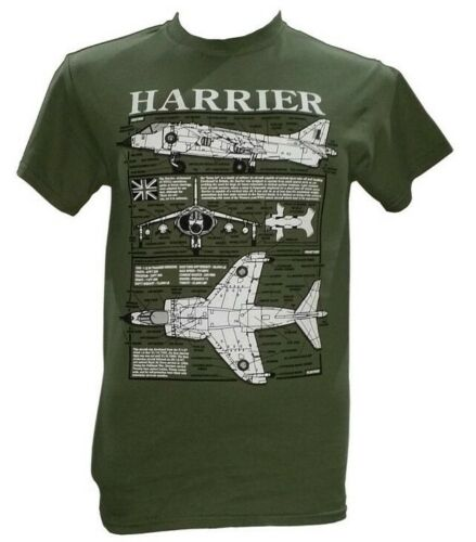 Hawker Siddeley Harrier Aircraft Military T Shirt With Blueprint Design.