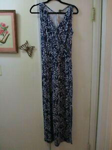 Tommy-Bahana-Azul-Marino-y-Blanco-Floral-Escote-en-V-sin-mangas-Maxi-vestido-talla-S-nuevo-con