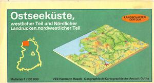 Landschaftskarte, DDR, Ostseeküste und Nördlicher Landrücken, 1989