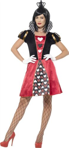 Femme cardées Queen Fancy Dress Costume Femmes Court noir /& rouge coeurs Costume