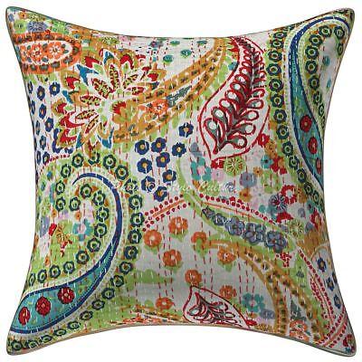Indian Mirror Work Kantha Pair Cushion Cover Handmade Sofa Throw Bed Pillow