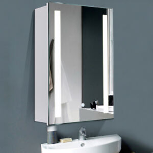 Bathroom Mirror Cabinet With Led Lighting Storage Cupboard Fog