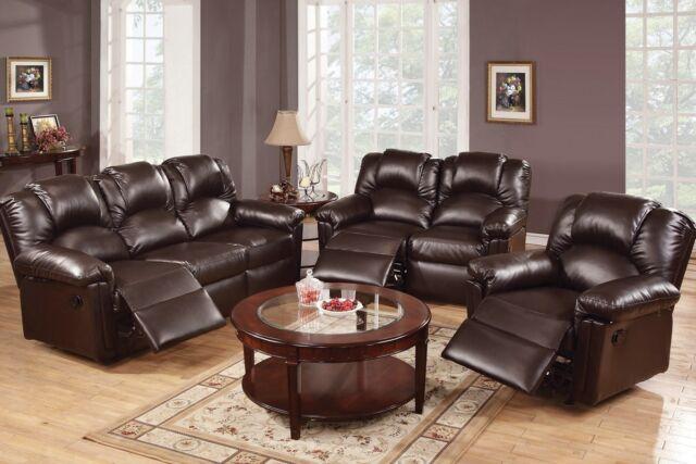 Amazing 3 Pcs Espresso Motion Sofa Set Sofa Loveseat Recliner Bonded Leather Furniture Pdpeps Interior Chair Design Pdpepsorg