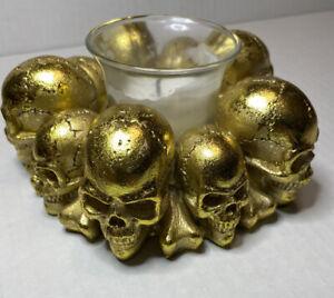 Transpac-Resin-Gold-Skull-Tealight-Candle-Holder-Halloween-Skulls