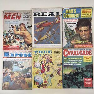 VTG 1959 Men's Magazine lot of 6 Real Adventures Expose Cavalcade True Pulp
