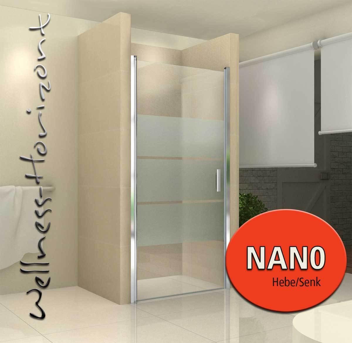 Duschabtrennung Glas Dusche Nischentür DIV. AUSFÜHRUNGEN NANO  von 75 -100 cm