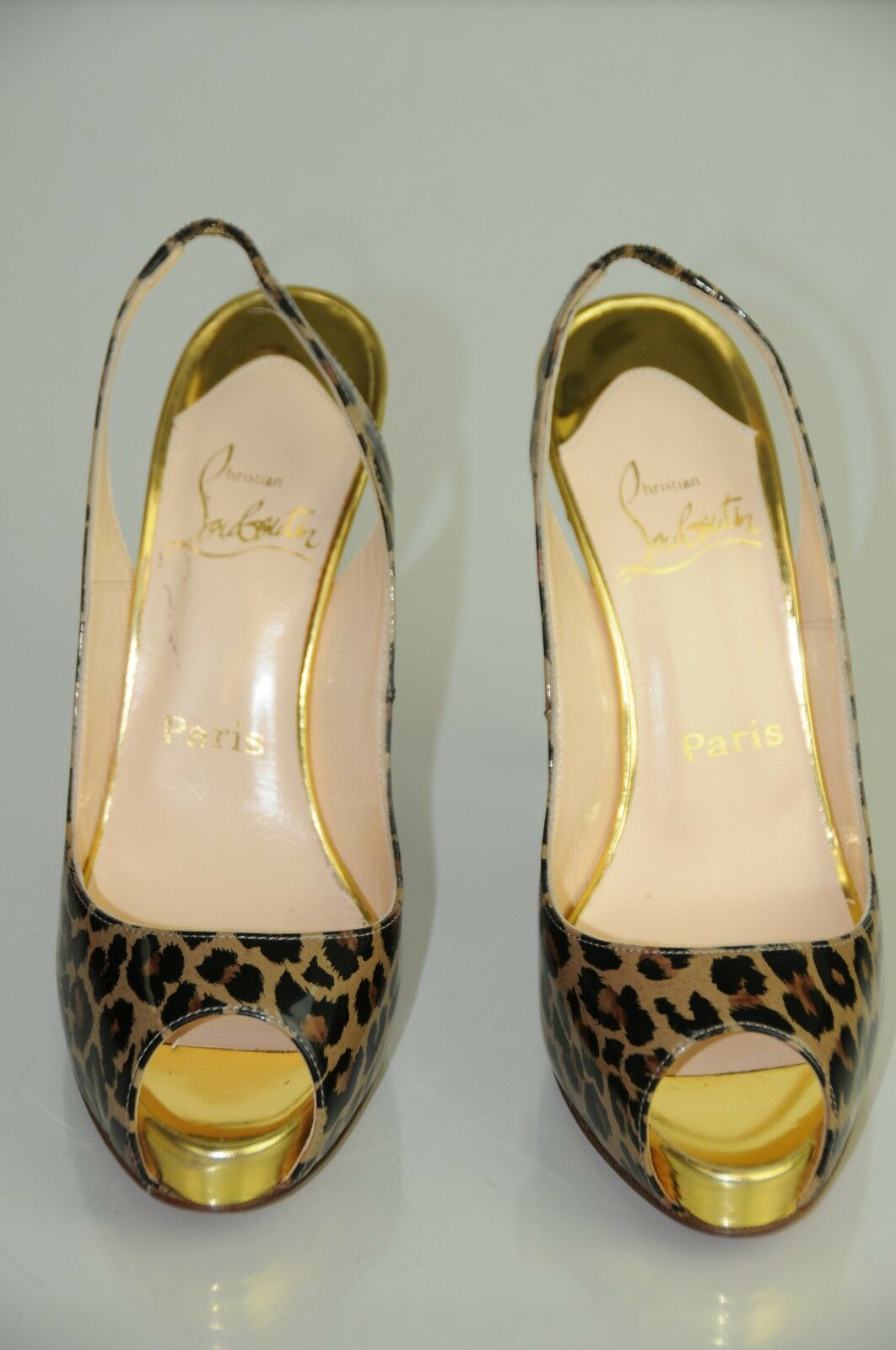 New Christian Louboutin No Prive Black Brown gold Leopard Leopard Leopard Platform shoes 37 7c7a50