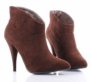 brown point toe narrow dressy high heel womens ankle