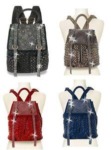 NEW HANDBAG EXPRESS BLACK+BLUE+PEWTER+RED CRYSTAL DRAWSTRING BACKPACK+DUST BAG