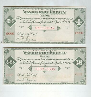 Oregon Depression scrip Washington County 50 cent and one dollar uncirculated