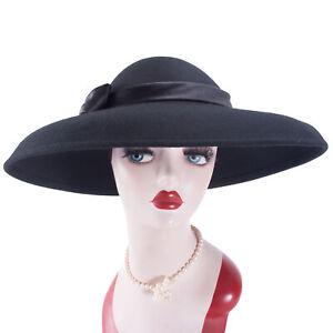Womens Vintage 100/% Wool Felt Floppy Wide Brim Dress Wedding Church Hat A322